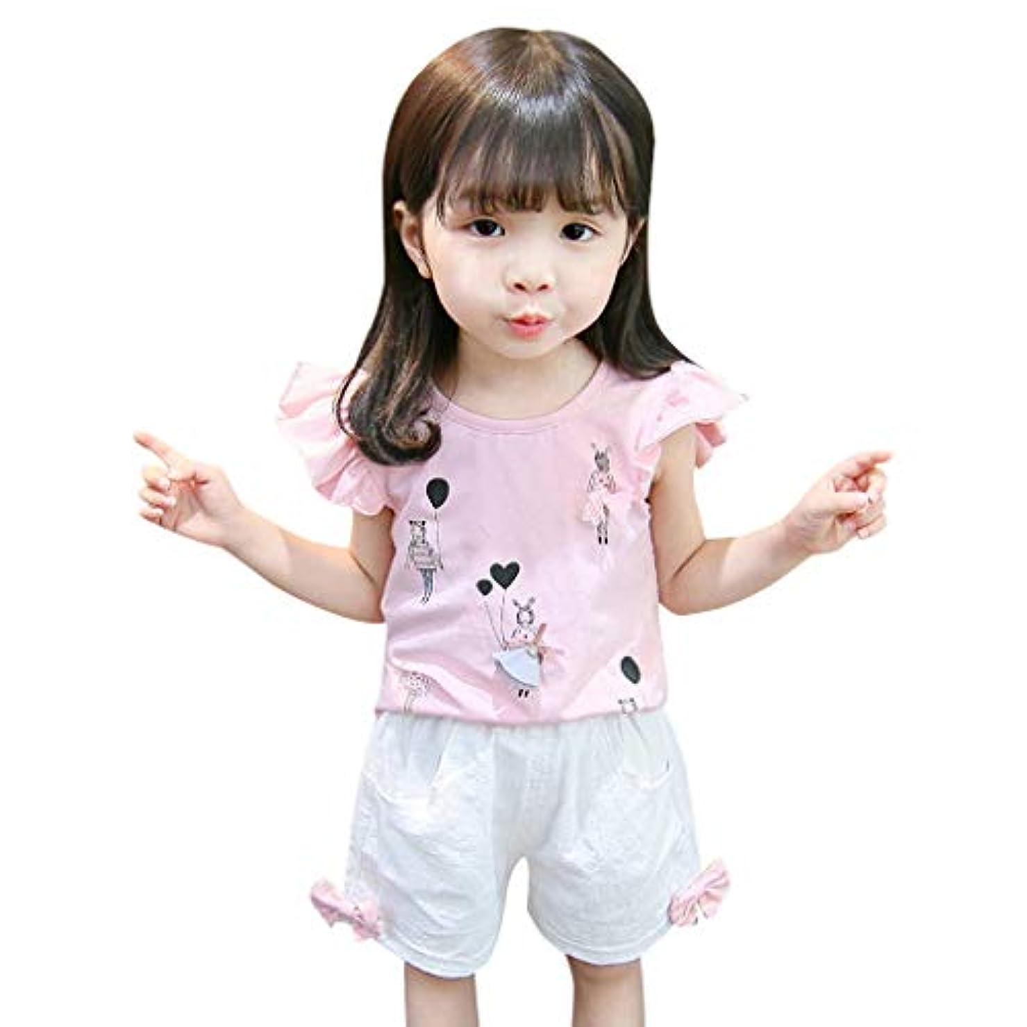 繁栄殉教者有利[ポクトロン] 新生児 子供の 半袖 かっこいい 爽やか クール フライングスリーブ 漫画 立体 かわいい 超柔らかい トップ+ショート パンツ 上下2点セット(ピンク,110)
