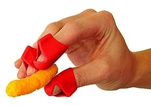 チップフィンガー スナックなどの食べ物の指への付着を防止 指用具 指用グローブ 指用カバー 指用保護具 脂っぽくべとつくチーズ関連の食べ物に最適 レッド