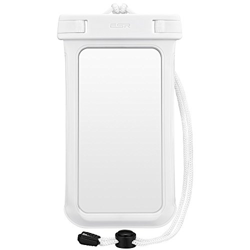 スマホ防水ケース, ESR IPX8防水力 ストラップ付属 高感度PVCタッチスクリーン お風呂 海水浴 プール 釣り スマホ防水ポーチ 6センチ以下iPhoneとAndroidスマホに対応可能(ホワイト)