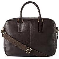 Gauge 15.5 inch Leather Laptop Bag Messenger Bag Office Briefcase College Bag for Men (Brown)