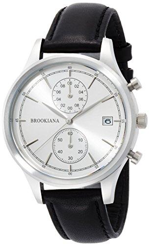 [ブルッキアーナ]BROOKIANA クロノグラフ デイトカレンダー シルバー×ブラックレザー BA2306-SSLBK メンズ 腕時計