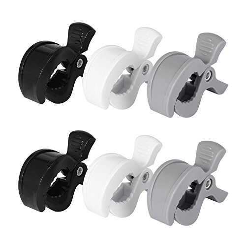 Juh Stroller Pegs Clips 6 Pack 大きく開くベビーカークリップ6個セット (黒白灰) …