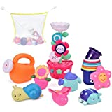 9 PCs Bath Toys Toddlers, Flower Waterfall Water Station Garden Squirter Toys, Stacking Cups Watering Can, Bath Toy Organizer