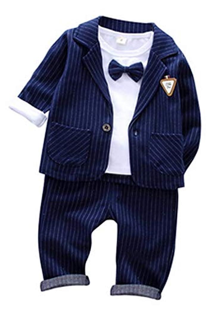 休暇パラダイス落ち込んでいるCloudkids ベビー フォーマルスーツ ストライプ 3点セット キッズ ジャケット シャツ ズボン 子供服 赤ちゃん 男の子 洋服 結婚式 入園式 卒業式