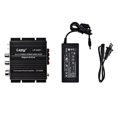 ONEU(ワンユー)  原音放送 50W×2RMS 小型T級パワーアンプ TP2051+TC2000搭載 デジタルオーディオ 19V3Aアダプター付属 Hi-Fi 青いLED コンパクト ブラック