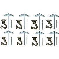 8アンティーク 真鍮 シーリングフック コンプリートセット 1.5インチ 高耐久 耐荷重15ポンド 広い開口部 スワッグフック ハンギングプラント装飾 - すべての金具付き プレミアム 台湾ブルドッグ