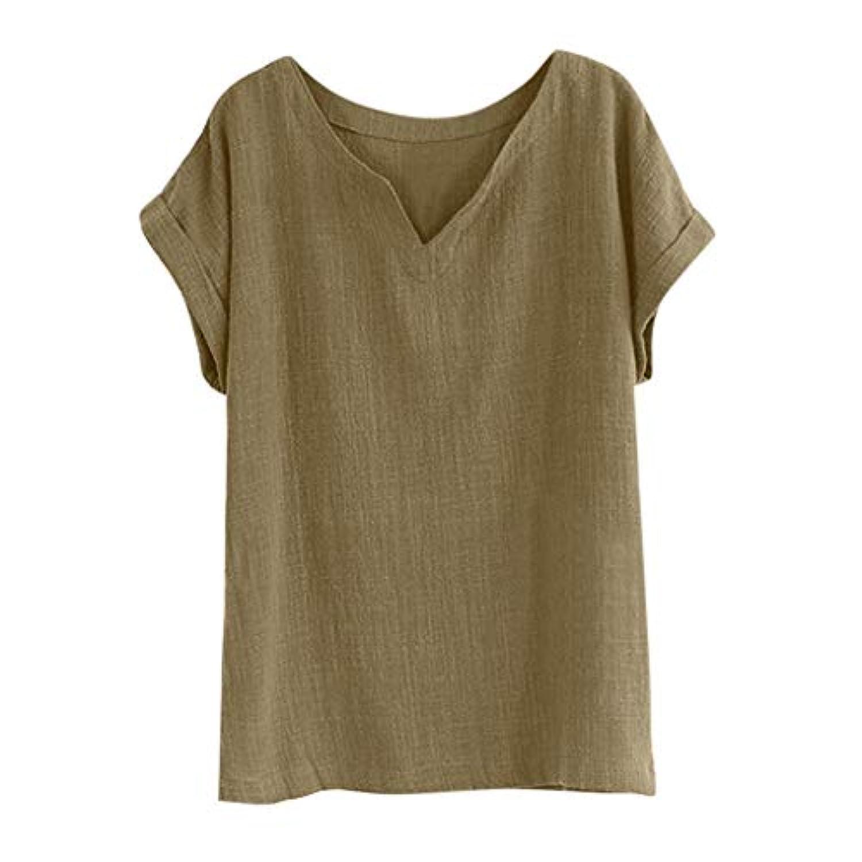 Wyntroy ブラウス 女性たち コットンリネン シャツ 日韓風 シンプルなスタイル トップス カジュアル アウトドア コスチューム ガールズ 綿麻 レジャー服 この夏人気のシャツ 単色 半袖 緩い ストライプ ブラウス エレガント