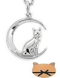 新宿銀の蔵 三日月 に佇む 猫 ジルコニア シルバー 925 レディース ネックレス (シルバー) キャット ボックスセット ムーン アクセサリー