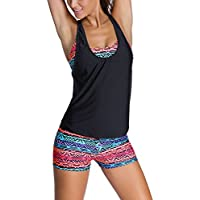 EVALESS Women 3 Pieces Tribal Printed Tankini Swimsuit Sports Bra Boyshort or Briefs with Vest