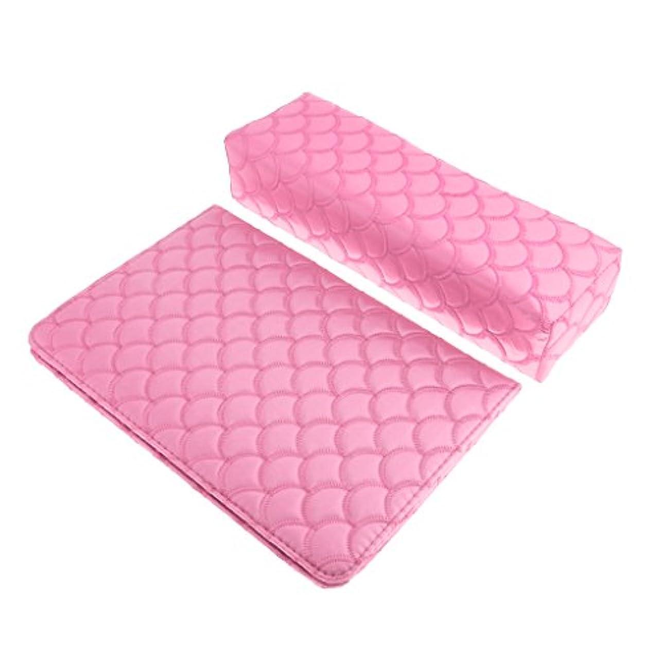トランクライブラリデンマーク気分が悪いソフト ハンドクッション ネイルピロー パッド ネイルアート デザイン マニキュア アームレストホルダー 多色選べる - ピンク