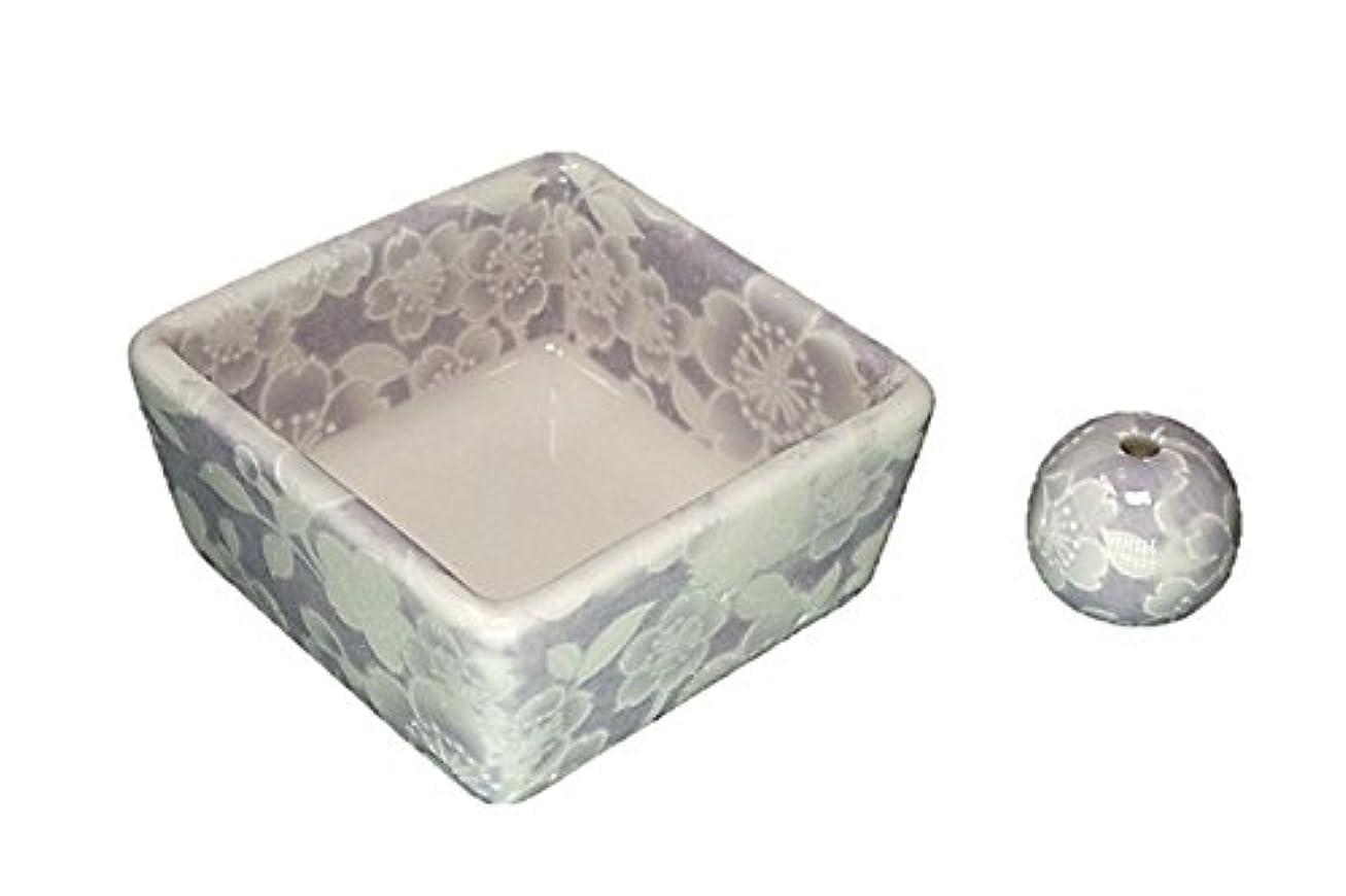 上級凶暴な上陸和モダン 桜友禅 紫 お香立て 陶器 角鉢 製造直売品