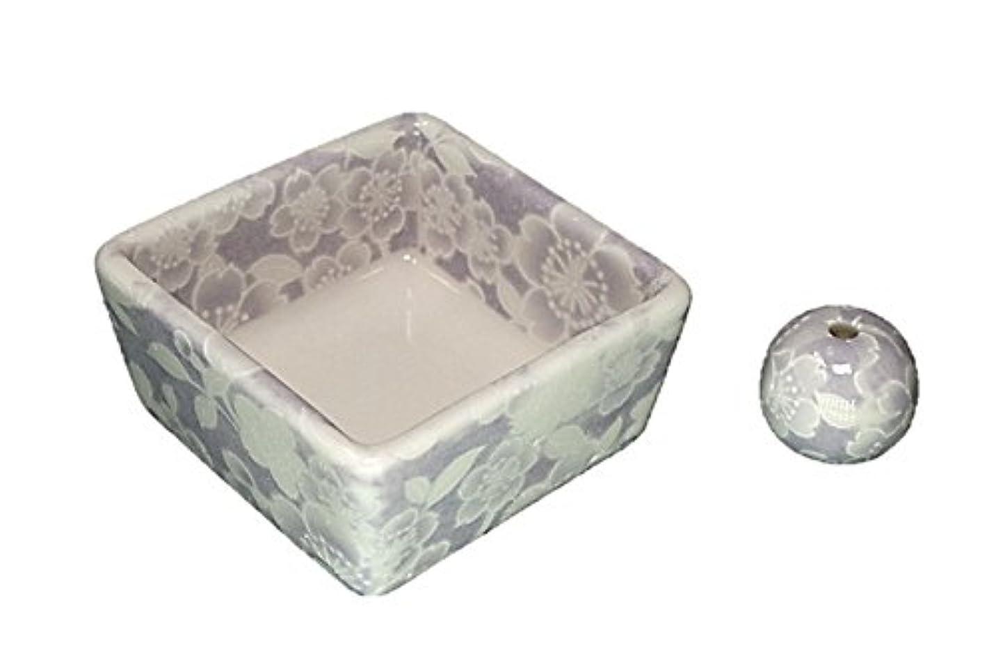 高度な関与するレタッチ和モダン 桜友禅 紫 お香立て 陶器 角鉢 製造直売品