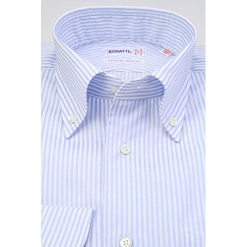(スキャッティ) SCHIATTI 白 × サックスブルー ロンドンストライプ 80双糸 ボタンダウン (細身) ドレスシャツ bd3891-3882