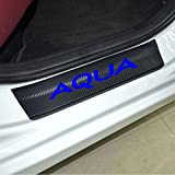 SENYAZON トヨタ(TOYOTA) アクア AQUA ステッカーカーボンファイバービニール反射車のドアシル装飾スカッフプレート (青)