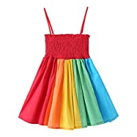 Baby Girls Rainbow Dress Boho Toddler Pageant Princess Sleeveless Halter Beach Sundress