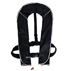 DABADA(ダバダ) ライフジャケット インフレータブル ベストタイプ 膨張式 救命胴衣 男女兼用 フリーサイズ (首かけ自動膨張式ブラック)