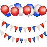 独立記念日デコレーションセット 30ピース 赤白青ラテックスバルーン 2ピース 三角旗バナー DIY装飾 7月4日のお祝い用