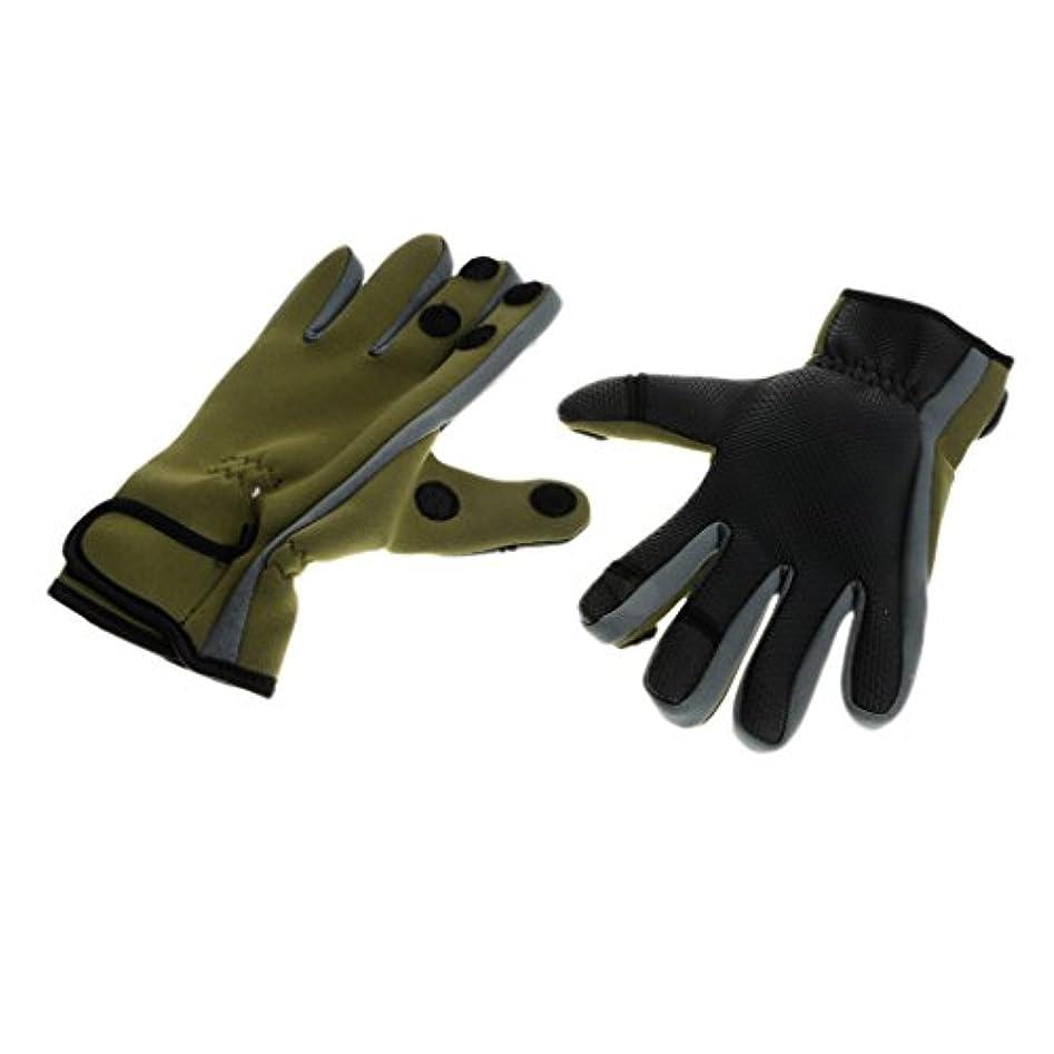 小説頂点温度Baoblade Baoblaze 全2色3サイズ 1ペア 手袋 グローブ 3本指出し 釣り 狩猟 乗馬 サイクリング 速乾性 通気性 調整可能 屋外     - 緑, XL