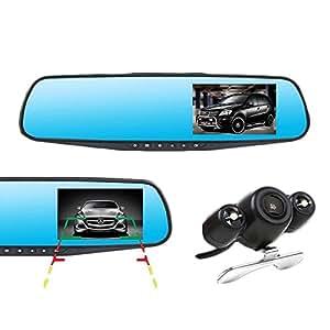 【 2カメラ 前方 後方 録画 & 駐車ナビ 機能 搭載 】 高画質 ミラー 型 ドライブレコーダー バックカメラ  駐車 中 録画 可能  車載 防犯 カメラ 1080P HD  【ONIDORA】