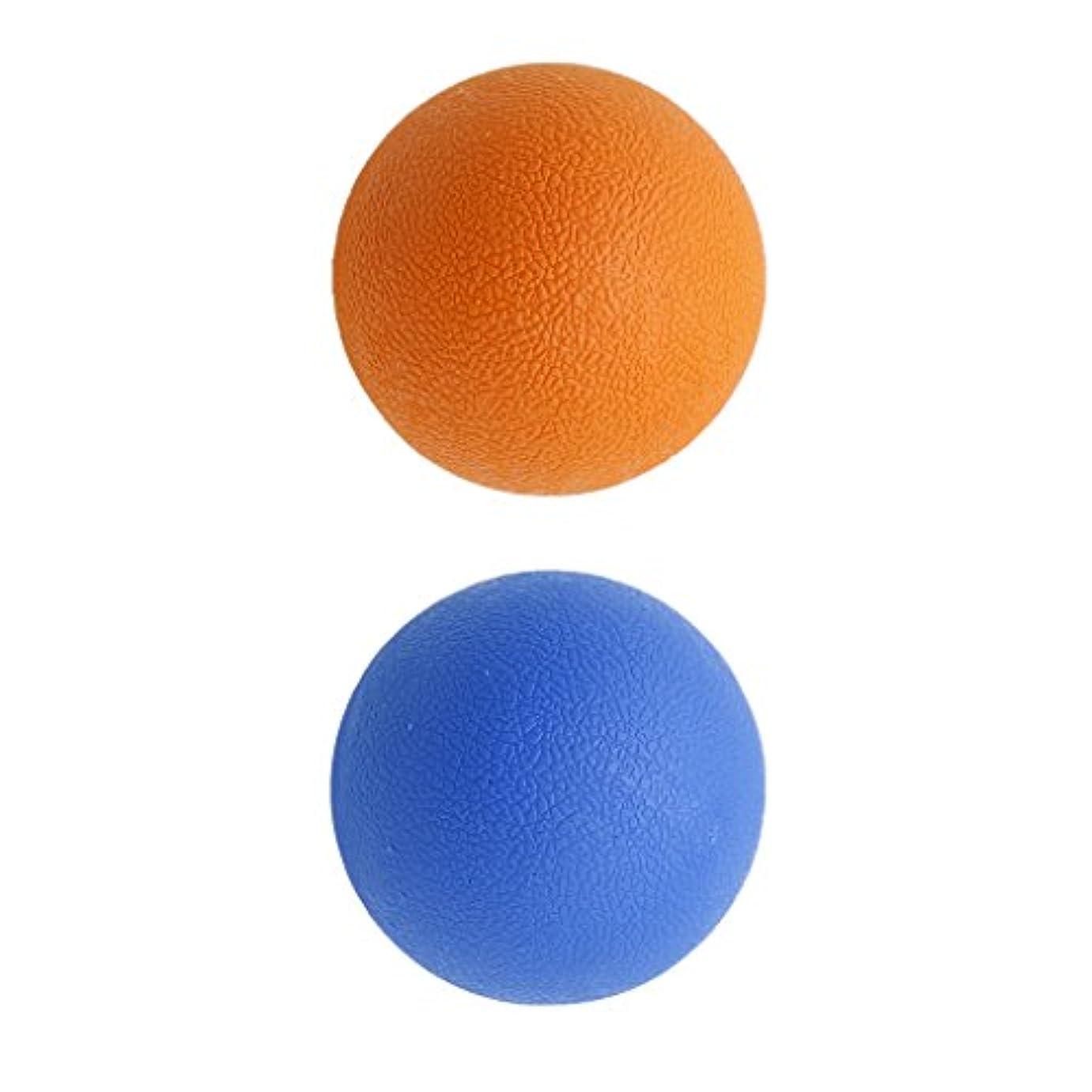 噴火パキスタン便宜Kesoto 2個 マッサージボール ラクロスボール 背部 トリガ ポイント マッサージ 多色選べる - オレンジブルー