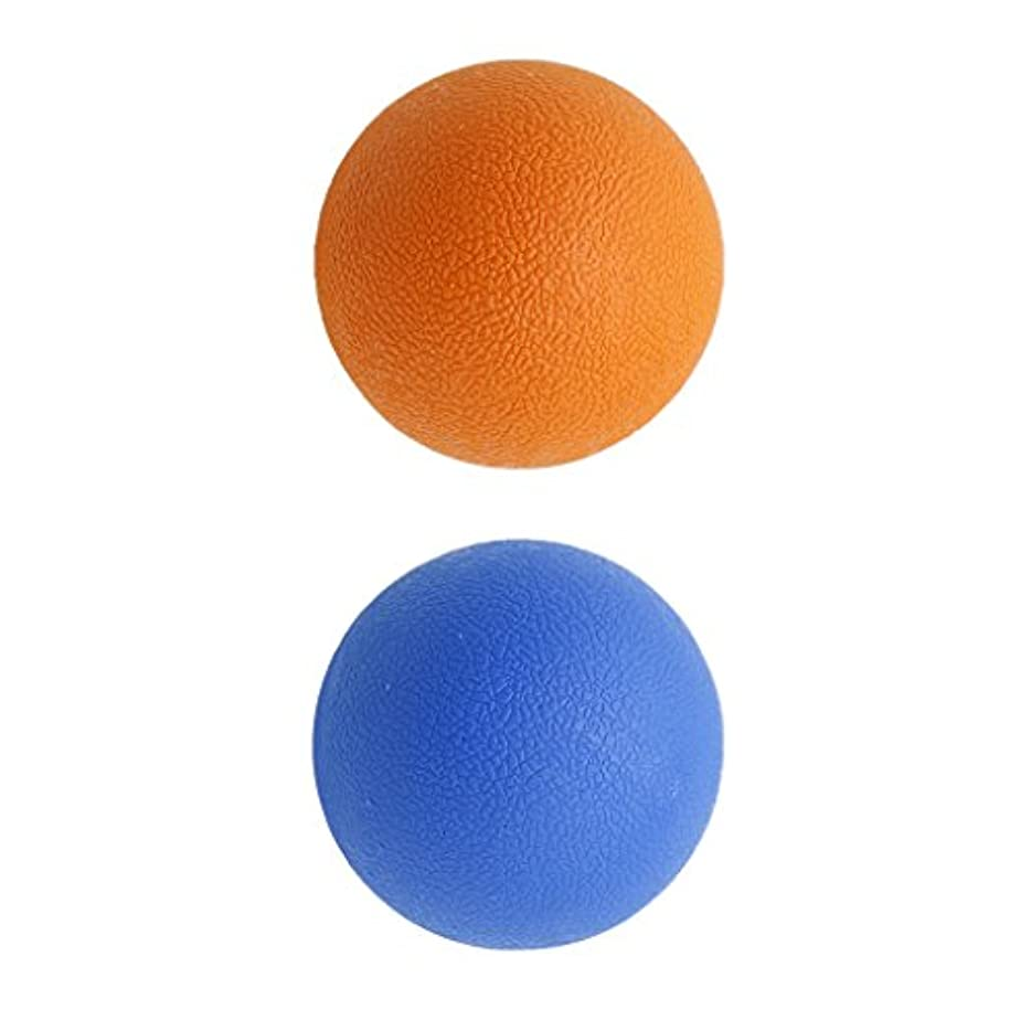 ピストル狂気暖炉2個 マッサージボール ラクロスボール 背部 トリガ ポイント マッサージ 多色選べる - オレンジブルー