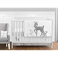 Sweet Jojo Designs 11-Piece Grey Gold and White Forest Deer and Dandelion Girl or Boy Baby Bedding Crib Set Without Bumper [並行輸入品]