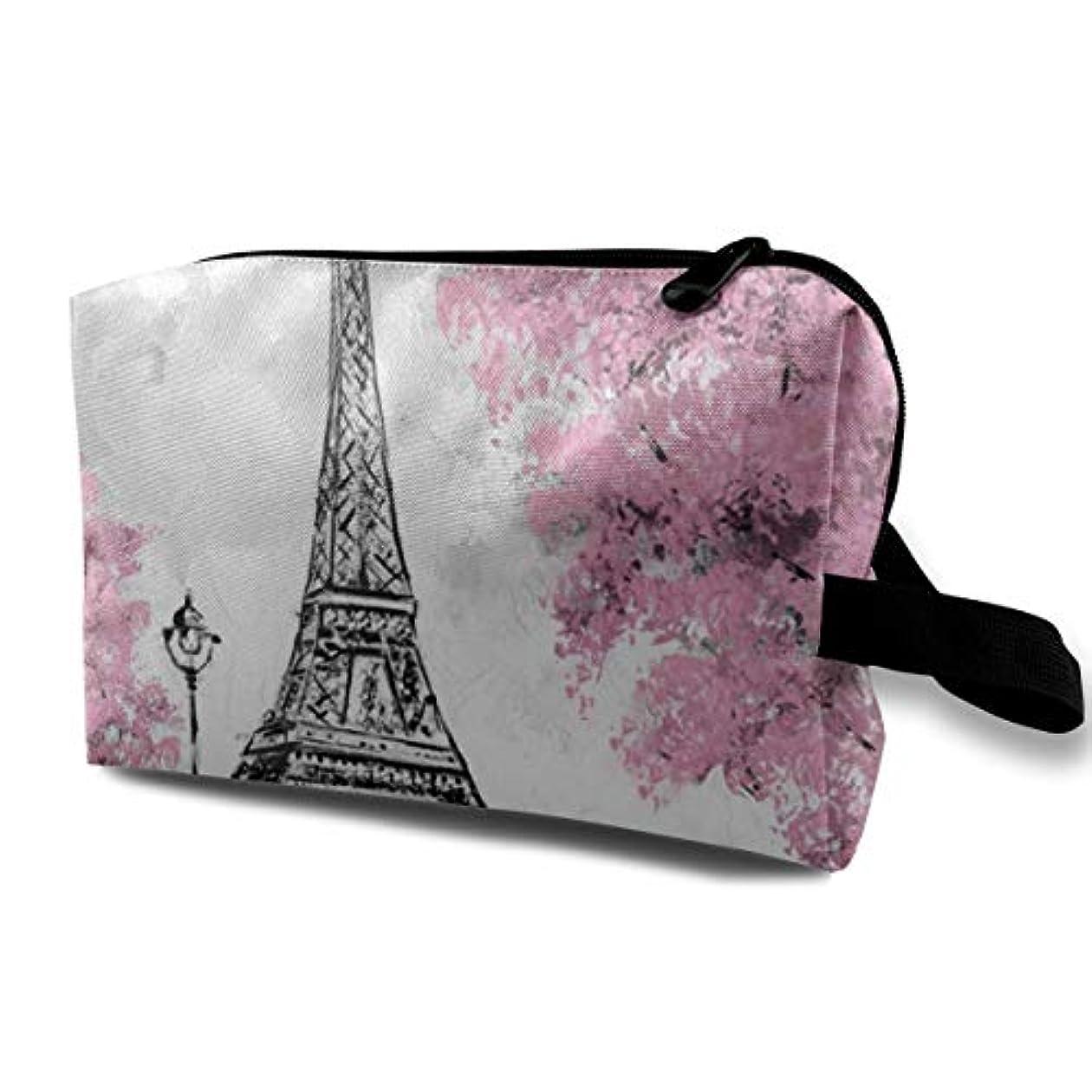 ビルダー隣接成人期Pink Oil Painting Paris 収納ポーチ 化粧ポーチ 大容量 軽量 耐久性 ハンドル付持ち運び便利。入れ 自宅?出張?旅行?アウトドア撮影などに対応。メンズ レディース トラベルグッズ