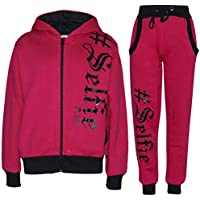 Kids Tracksuit Boys Girls Designer's #Selfie Top Bottom Jogging Suit 7-13 Years