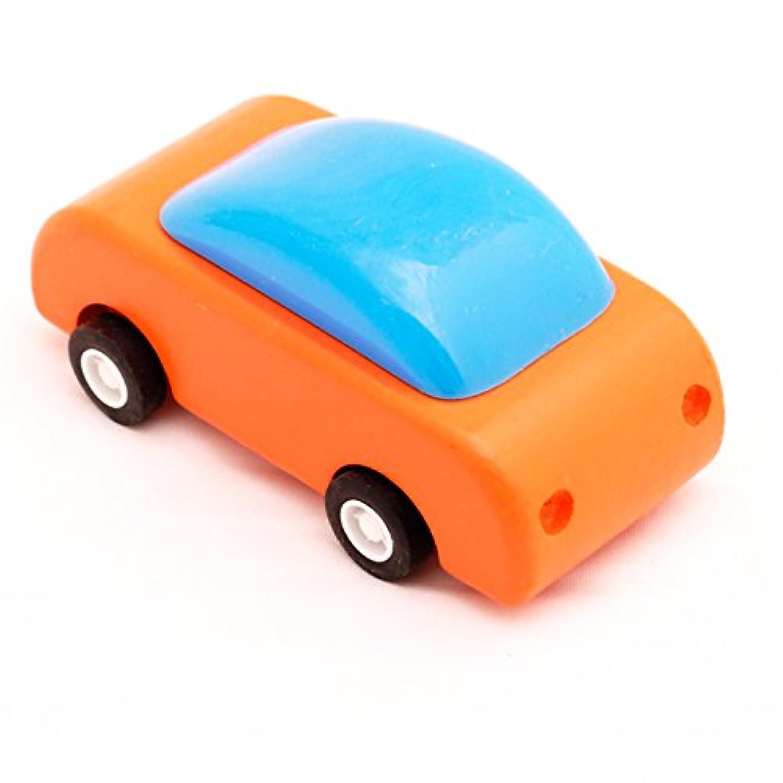 pull-back Wooden Racingカー、オレンジ、t00074