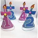 HuaQingPiJu-JP 誕生日ケーキキャンドル番号シャープトライアングルハット誕生日ハットパーティー用品(ブルーナンバー1)