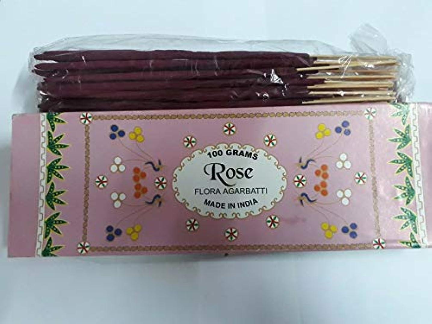 メッシュ一般削減Rose (Gulaab) ローズ Agarbatti Incense Sticks 線香 100 grams Flora フローラ Incense Agarbatti