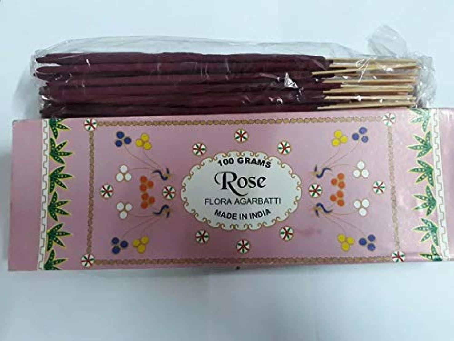 聖人敬な成熟したRose (Gulaab) ローズ Agarbatti Incense Sticks 線香 100 grams Flora フローラ Incense Agarbatti