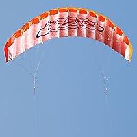 オレンジデュアルラインParafoil Kite with Flyingツール子トレーニングアウトドアアクティビティおもちゃパラシュートスタントスポーツ