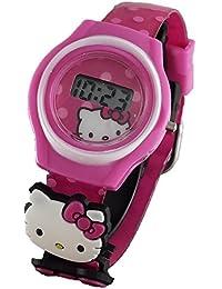 ハローキティ HK3002 小さな女の子用 ピンクのデジタル腕時計 2つのチャーム付き