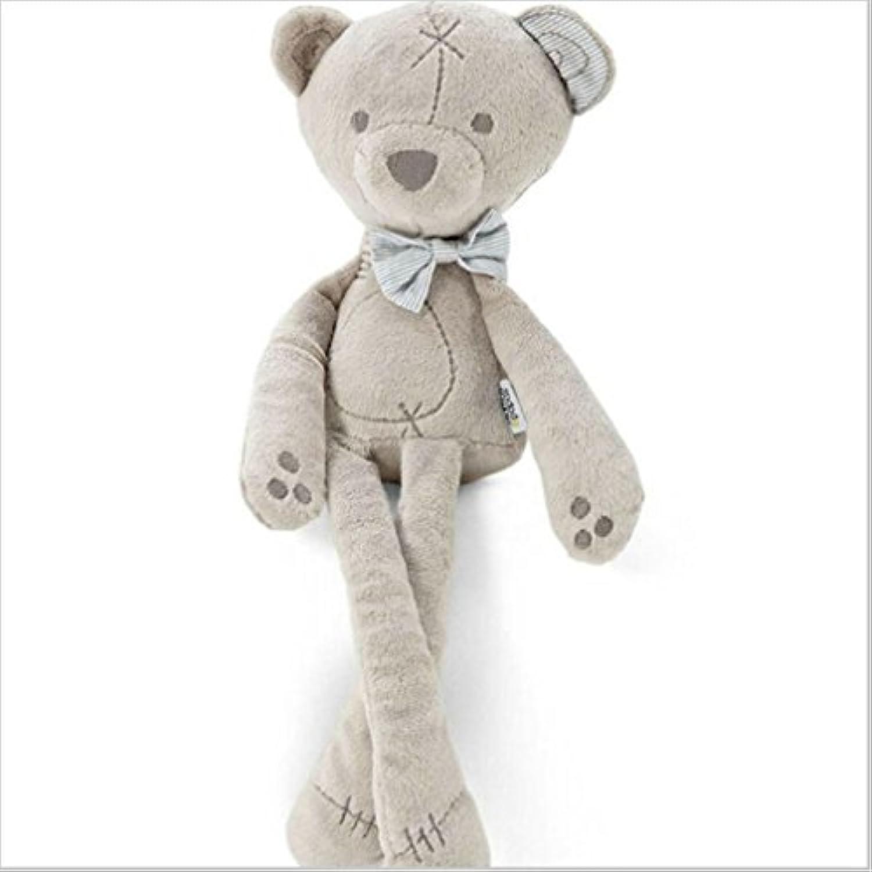 Honel ベビー ぬいぐるみ おもちゃ クマ かわいい ふわふわ ちょう結びクマ 柔らかい 出産 誕生日 プレゼント(グレー)