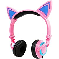 Cat Ear HeadphonesAuker Cute Glowing Blinking Cat-Ear HD Stereo Noise Cancellation Headset Over the Ear with Led Flash Light for iphone 7/7+/6s/6+/5s-SE/5C/4sSamsung Tablets&Android Phones (Pink) [並行輸入品]