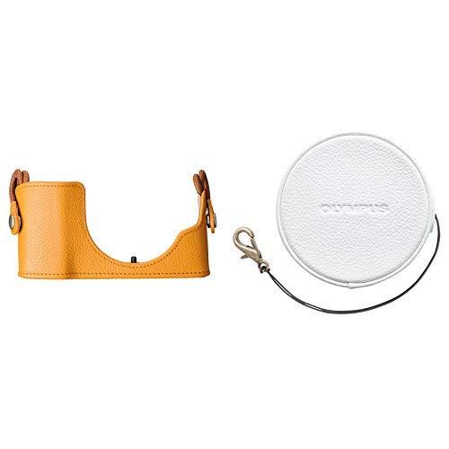 セット買いOLYMPUS ミラーレス一眼 PEN E-PL7, E-PL8, E-PL9用 本革ボディジャケット ライトブラウン CS-45B LBR  14-42mm EZ レンズ用 本革レンズジャケット ホワイト LC-60.5GL WHT