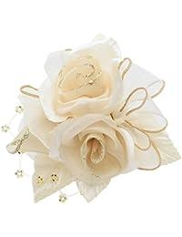 鎌倉工芸 [カマクラクラフト] 巻き バラ と つぼみ の3輪寄せ フラワー フォーマル コサージュ ホワイト ベージュ