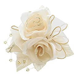 鎌倉工芸 [カマクラクラフト] 巻き バラ と つぼみ の3輪寄せ フラワー フラワー フォーマル コサージュ 全13色