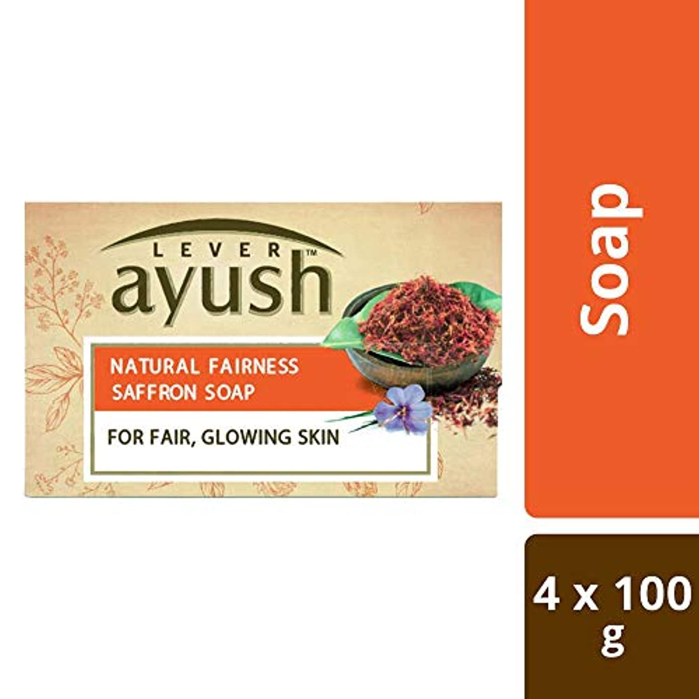 密代わりの川Lever Ayush Natural Fairness Saffron Soap, 100g (Pack of 4)