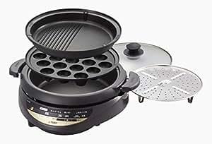 タイガー グリル鍋 3.7L プレート 3枚 タイプ 深鍋 たこ焼き 焼肉 プレート 蒸し台 蓋 付き ブラウン CQG-B300-T