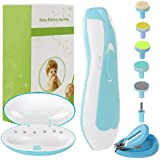 Electric Baby Nail File with Light, with Nail Clippers.6pc Baby Nail Trimmer Electric Set for Newborn Toddler Kids Toes and Fingernails, Polish and Trim (Blue)