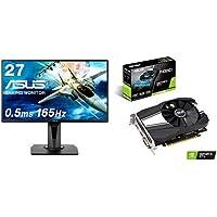 【ビデオカードセット】ASUSゲーミングモニター 27インチ VG278QR 0.5ms 165Hz スリムベゼル G-SYNC Compatible FreeSync HDMI DP DVI高さ調整 縦回転 3年保証