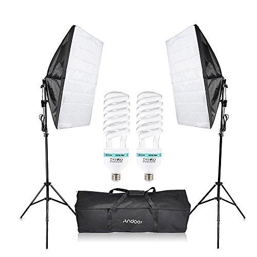 Andoer 撮影機材7点セット 60~200cmライトスタンド 50x70cmソフトボックス 135W電球 キャリングバッグ付