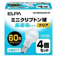 ELPA ミニクリプトン電球 60W【4個セット】 EKP100V54LW(C)4P