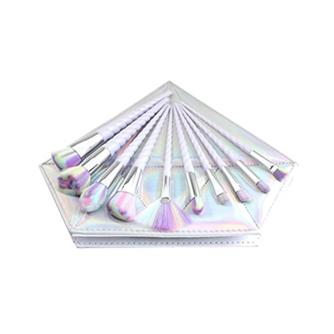 危険にさらされている写真甲虫Dilla Beauty 10本セットユニコーンデザインプラスチックハンドル形状メイクブラシセット合成毛ファンデーションブラシアイシャドーブラッシャー美容ツール美しい化粧品のバッグを送る (白いハンドル - 多色の毛)
