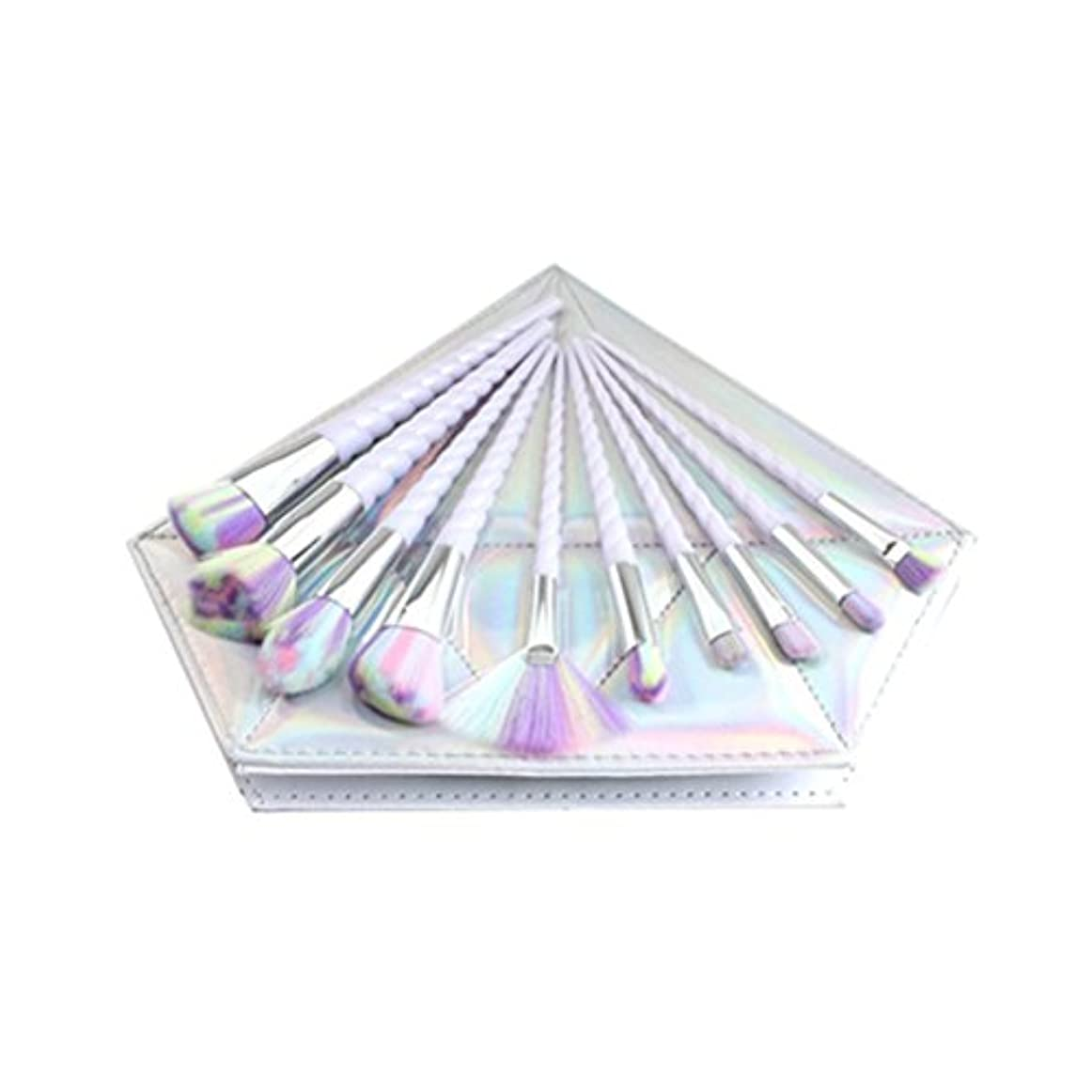 愛されし者縮れた毎年Dilla Beauty 10本セットユニコーンデザインプラスチックハンドル形状メイクブラシセット合成毛ファンデーションブラシアイシャドーブラッシャー美容ツール美しい化粧品のバッグを送る (白いハンドル - 多色の毛)