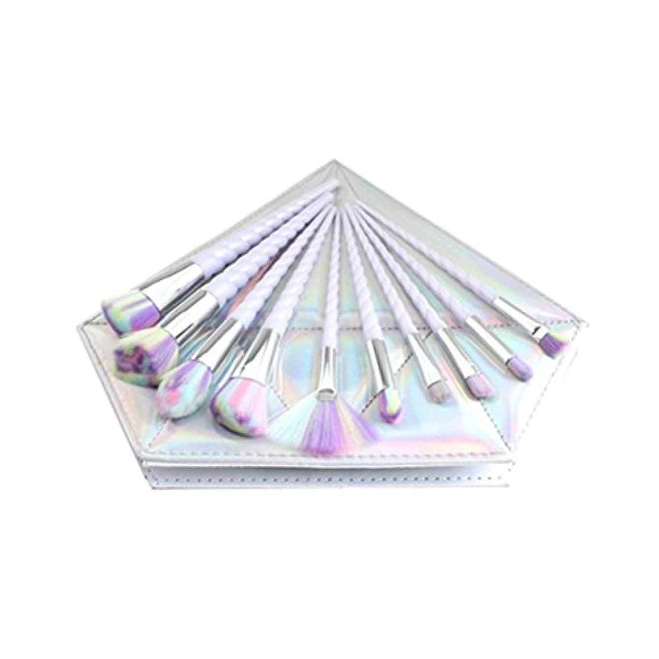 マーケティングスイング道Dilla Beauty 10本セットユニコーンデザインプラスチックハンドル形状メイクブラシセット合成毛ファンデーションブラシアイシャドーブラッシャー美容ツール美しい化粧品のバッグを送る (白いハンドル - 多色の毛)