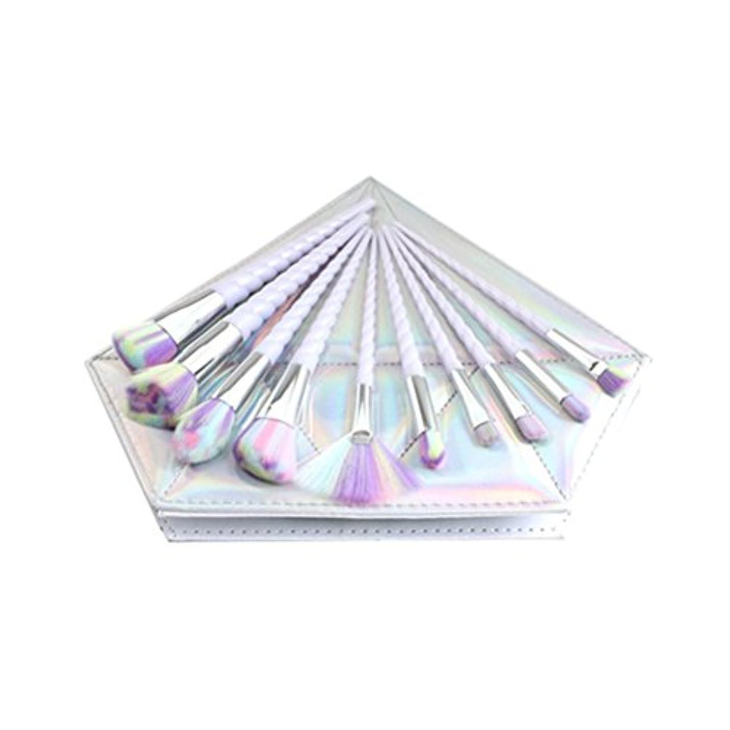 クランプステープル抵抗力があるDilla Beauty 10本セットユニコーンデザインプラスチックハンドル形状メイクブラシセット合成毛ファンデーションブラシアイシャドーブラッシャー美容ツール美しい化粧品のバッグを送る (白いハンドル - 多色の毛)