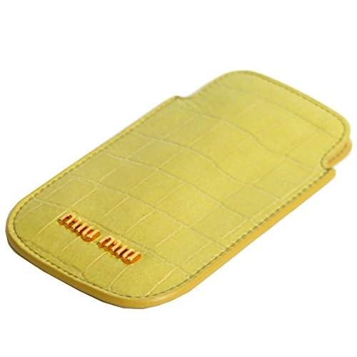 (ミュウミュウ) MIUMIU レディース ポーチ iphoneケース ST.COCCO LUX 5ARE42-NKG-F068X ANANAS イエロー